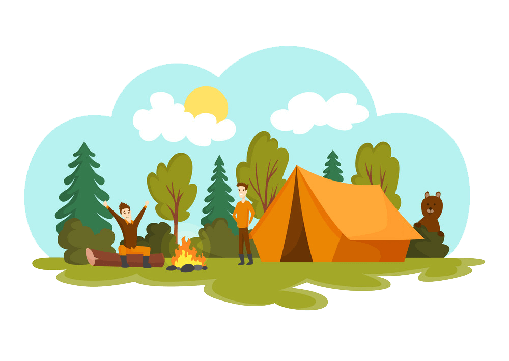 Two Guys Camping clipart transparent