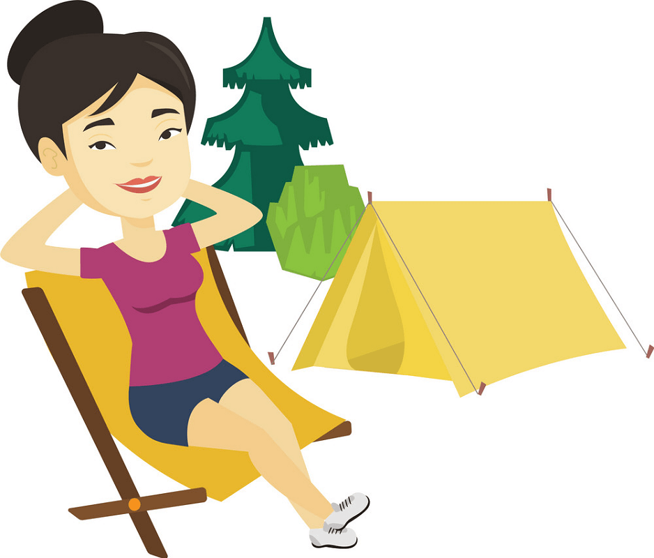 Woman Camping clipart