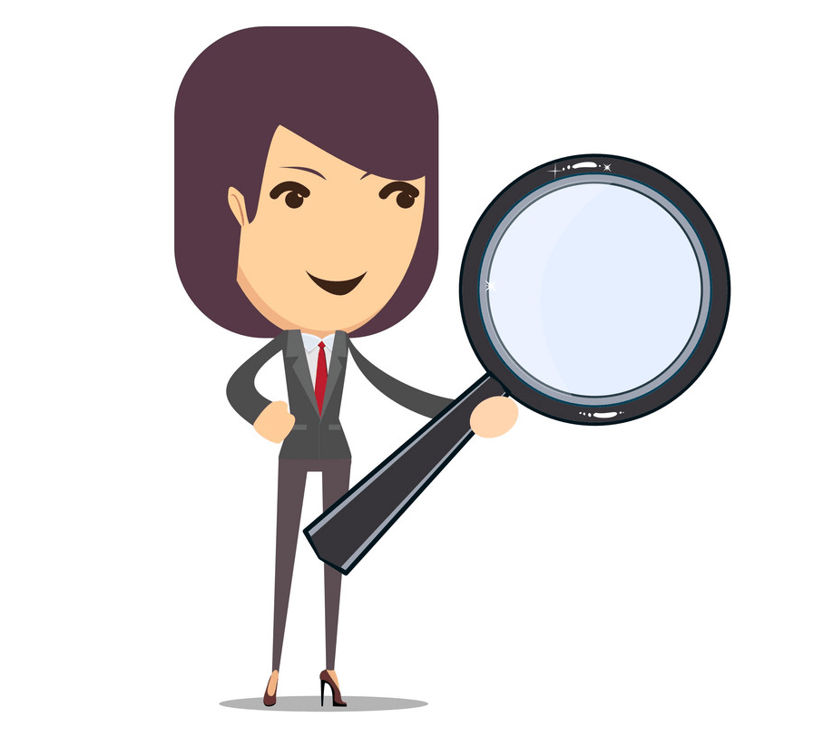 Woman with Magnifying Glass png