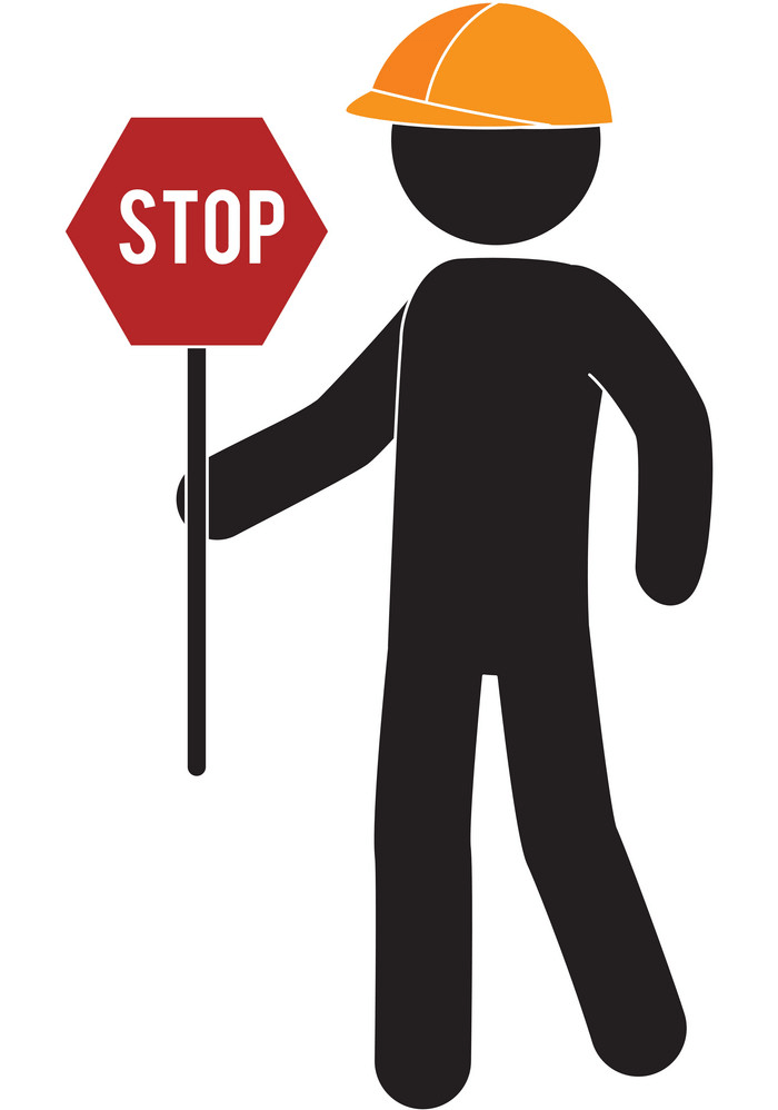 Worker with Stop Sign clipart
