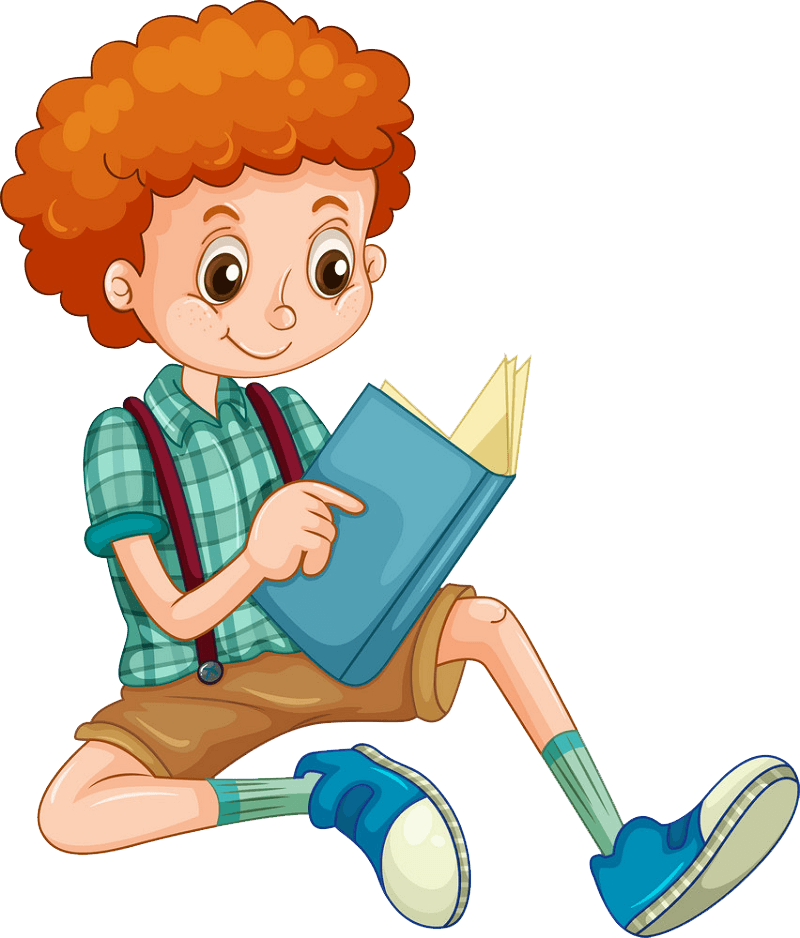 Young Boy Reading clipart transparent