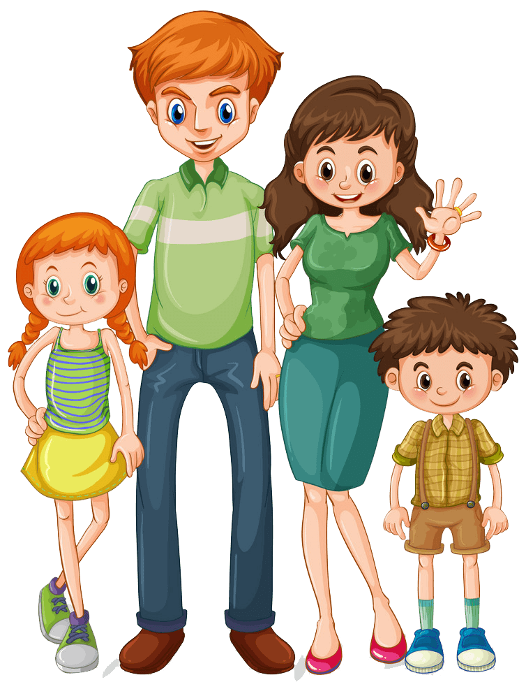 Young Family clipart transparent