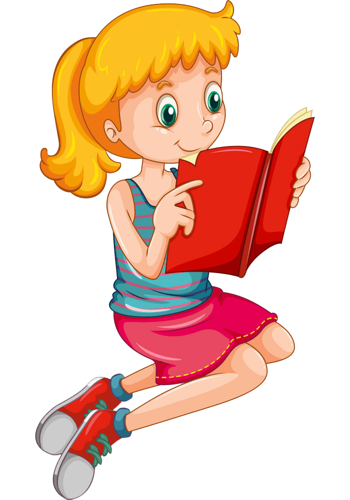 Young Girl Reading clipart transparent