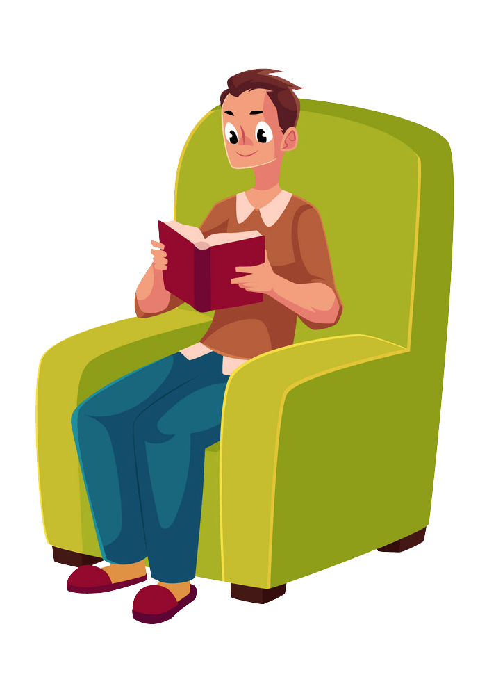 Young Man Reading clipart transparent