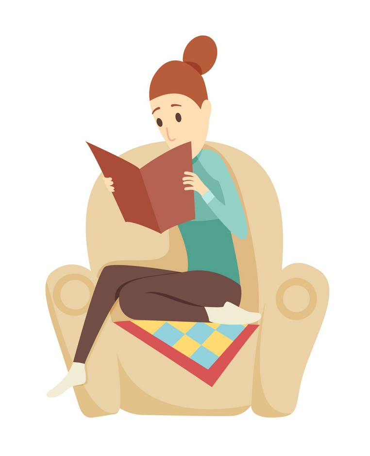 Young Woman Reading clipart