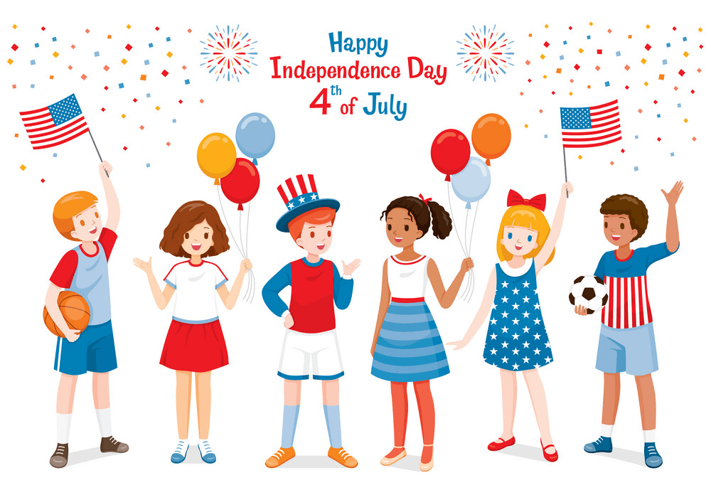 Children with 4th of July clipart