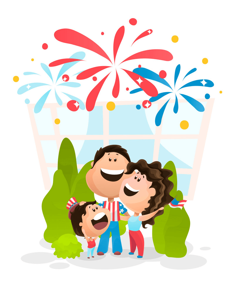 Family with 4th of July clipart