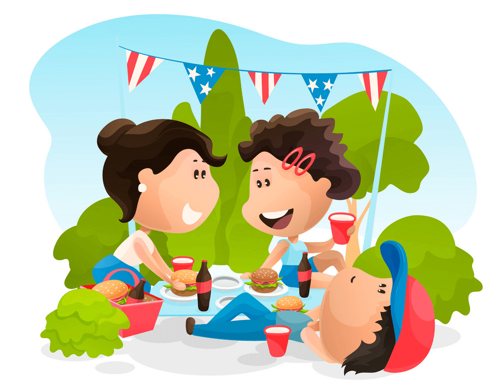 Friends with 4th of July clipart