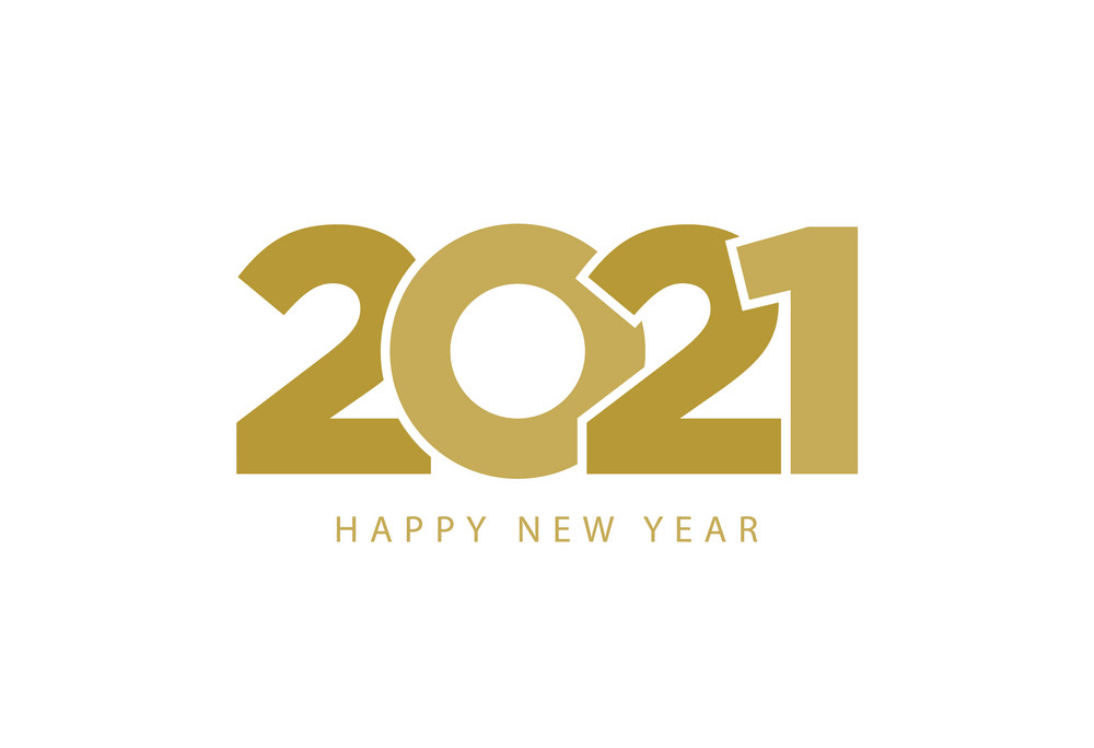 Golden Text Happy New Year 2021 clipart