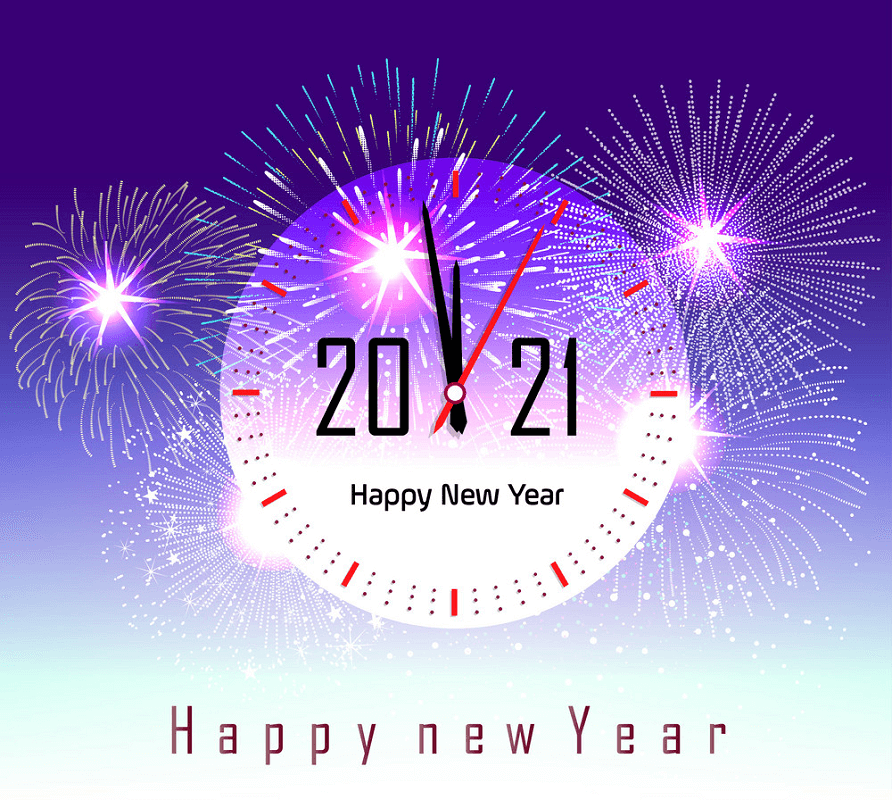 Happy New Year 2021 Clock clipart