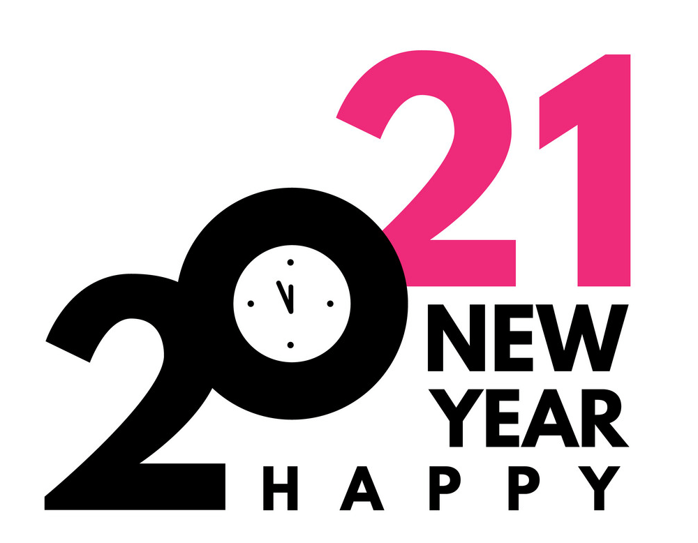 Happy New Year 2021 with Clock clipart