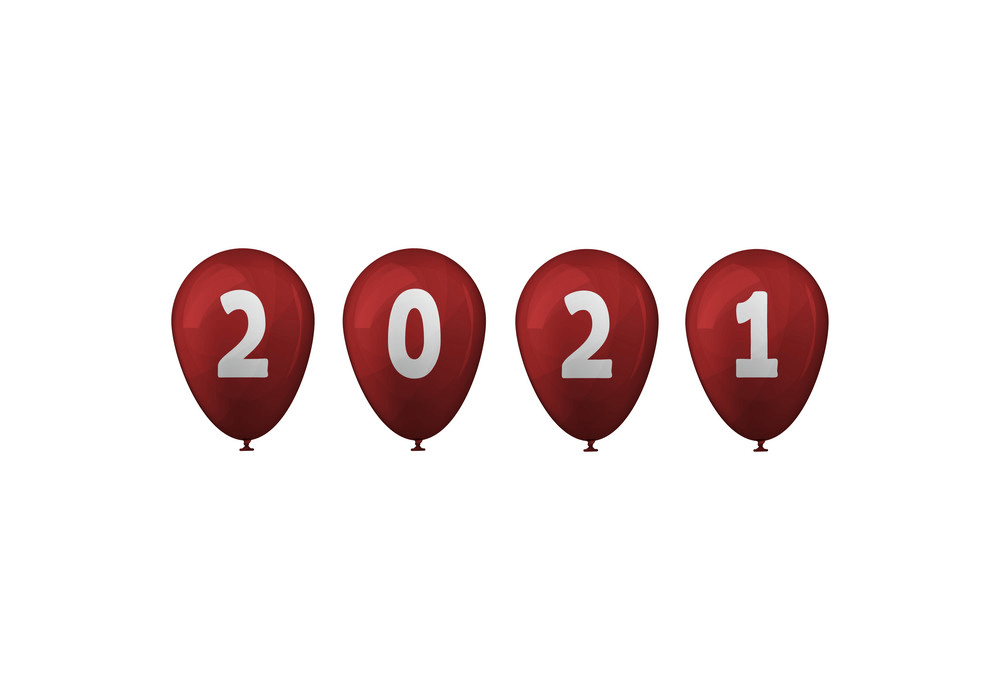 Happy New Year 2021 with balloon clipart