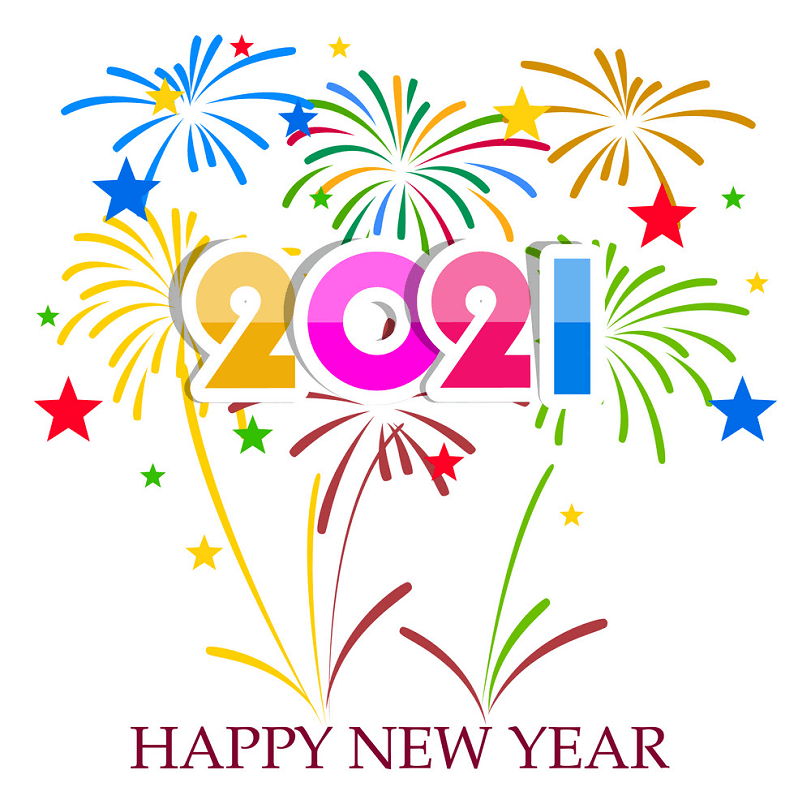 Happy New Year 2021 with firework clipart 1