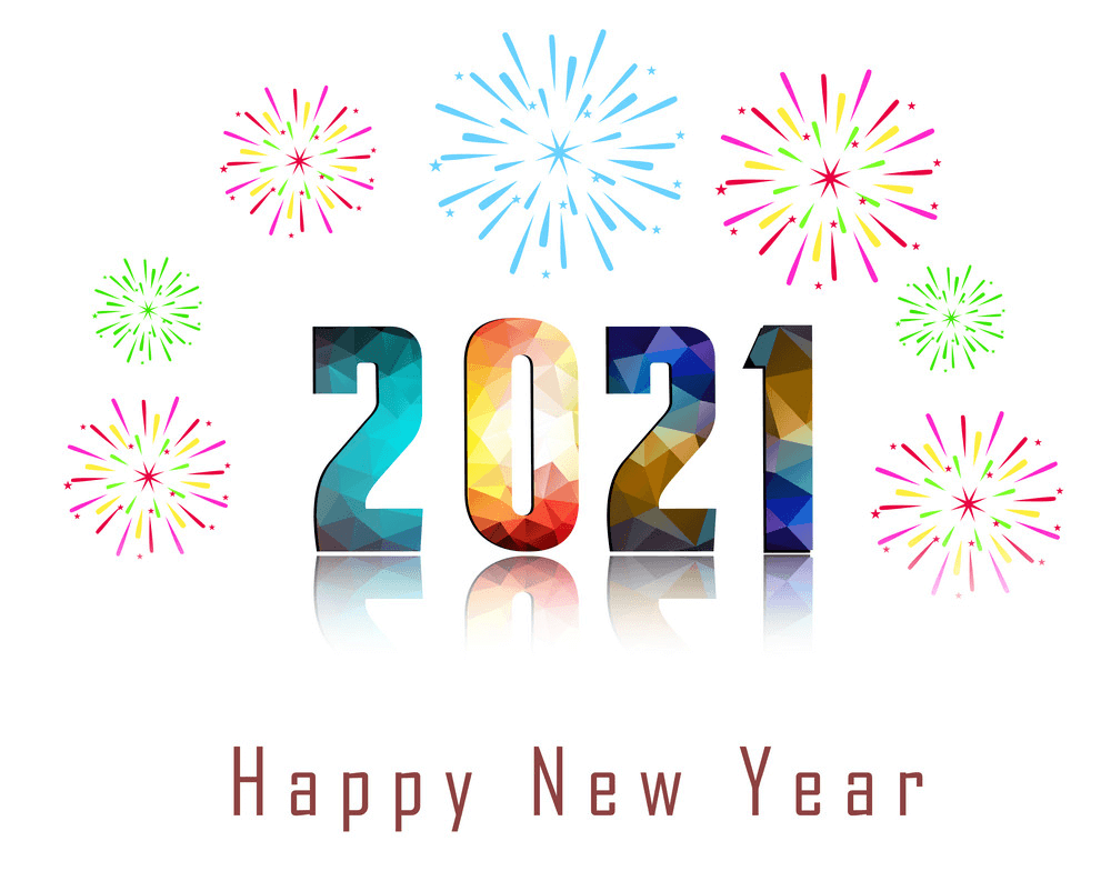 Happy New Year 2021 with firework clipart