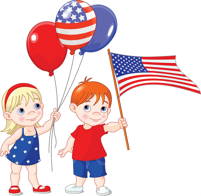 Kids with 4th of July clipart