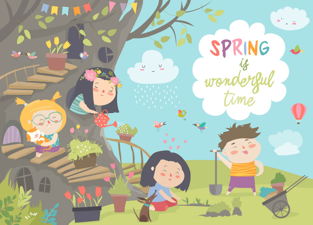 Kids with Spring clipart