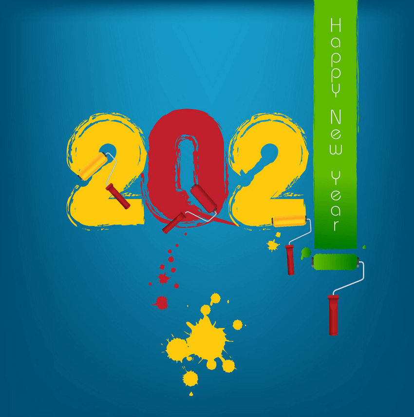 Painting Happy New Year 2021 clipart