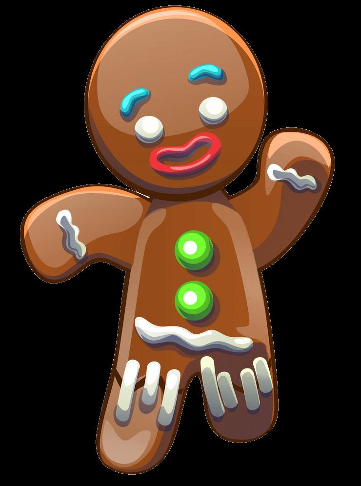 Adorable Gingerbread Man clipart transparent