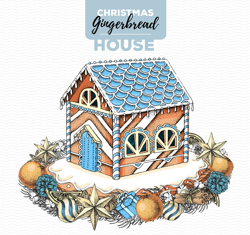 Beautiful Gingerbread House clipart