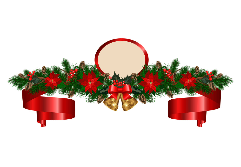 Bells with Christmas Garland clipart