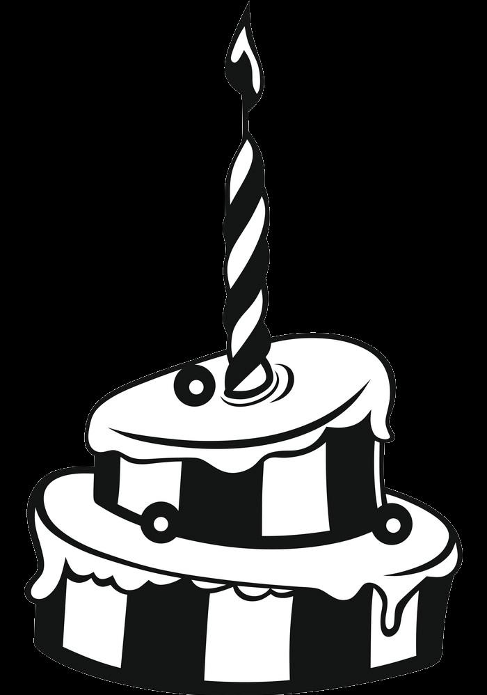 Black and White Birthday Cake clipart transparent