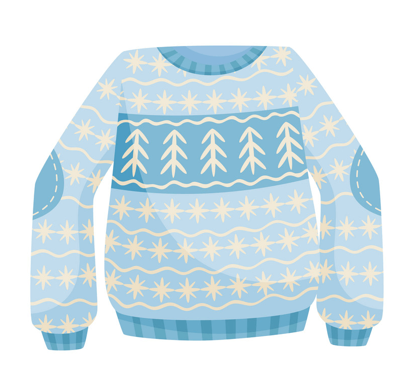 Blue Ugly Christmas Sweater clipart