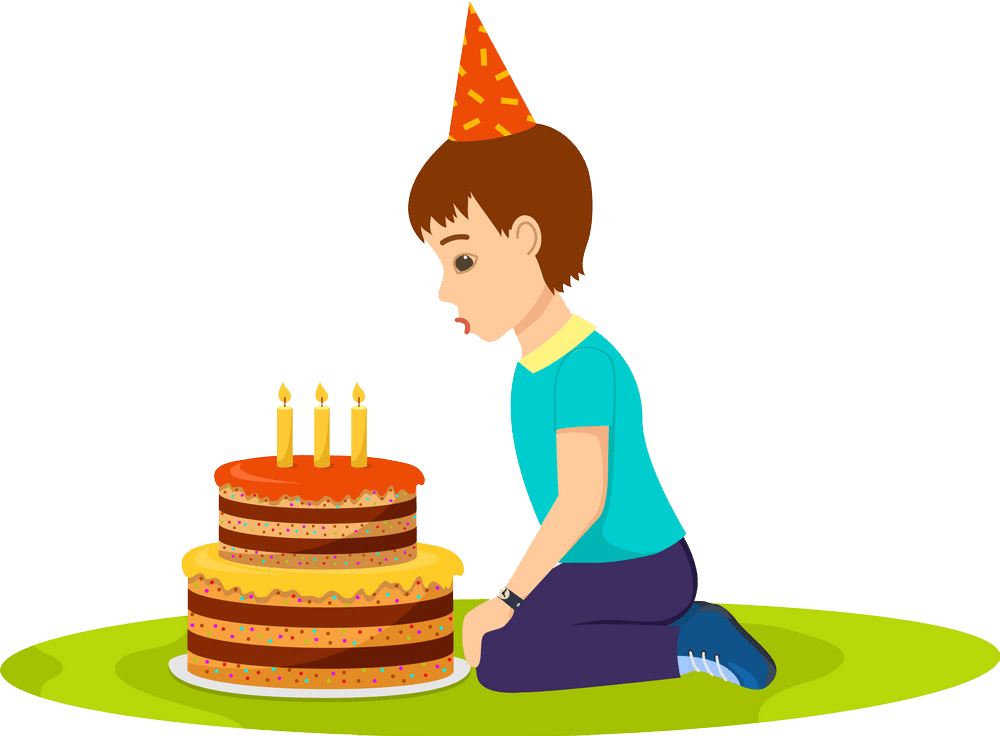 Boy and Birthday Cake clipart transparent