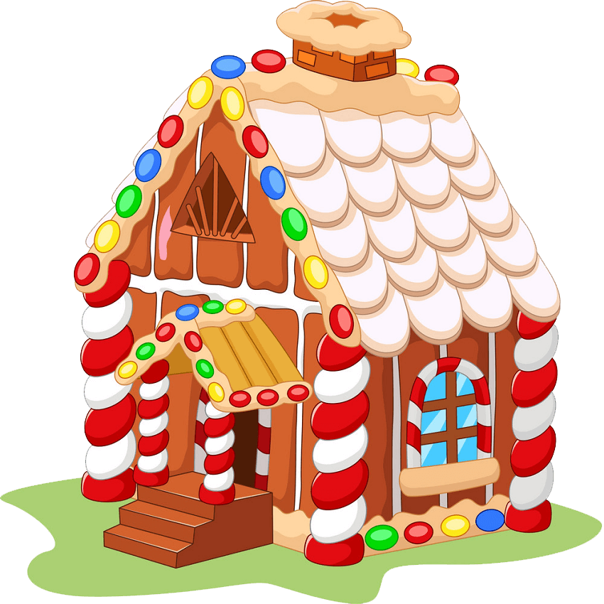 Cartoon Gingerbread House clipart transparent
