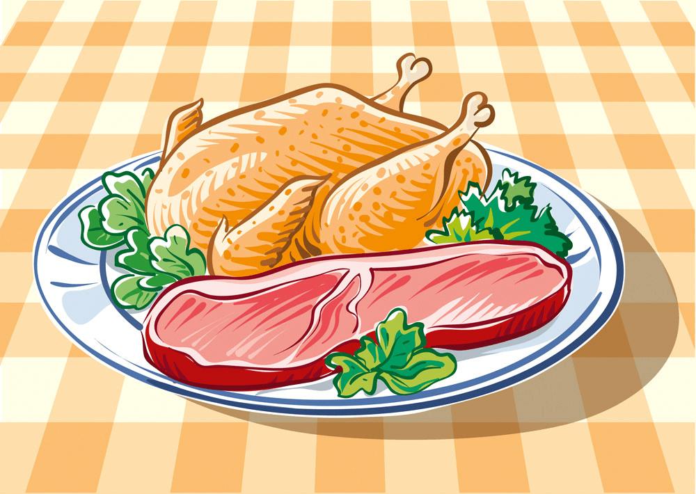 Chicken and Steak clipart