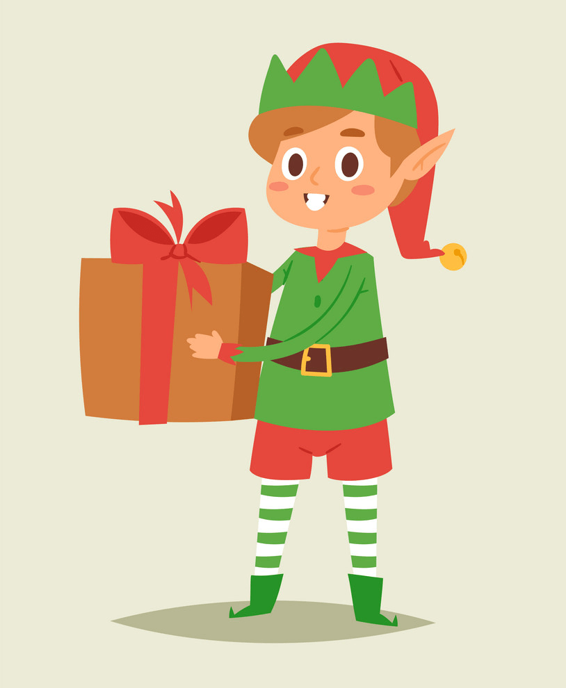Christmas Elf Holding a Gift Box clipart