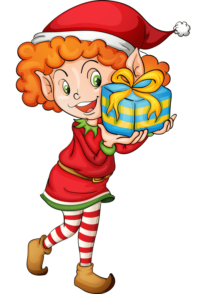 Christmas Elf and Gift clipart