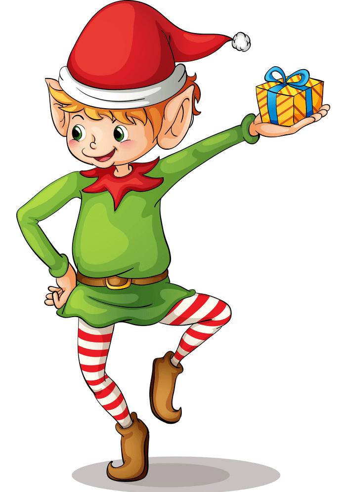 Christmas Elf and a Gift Box clipart