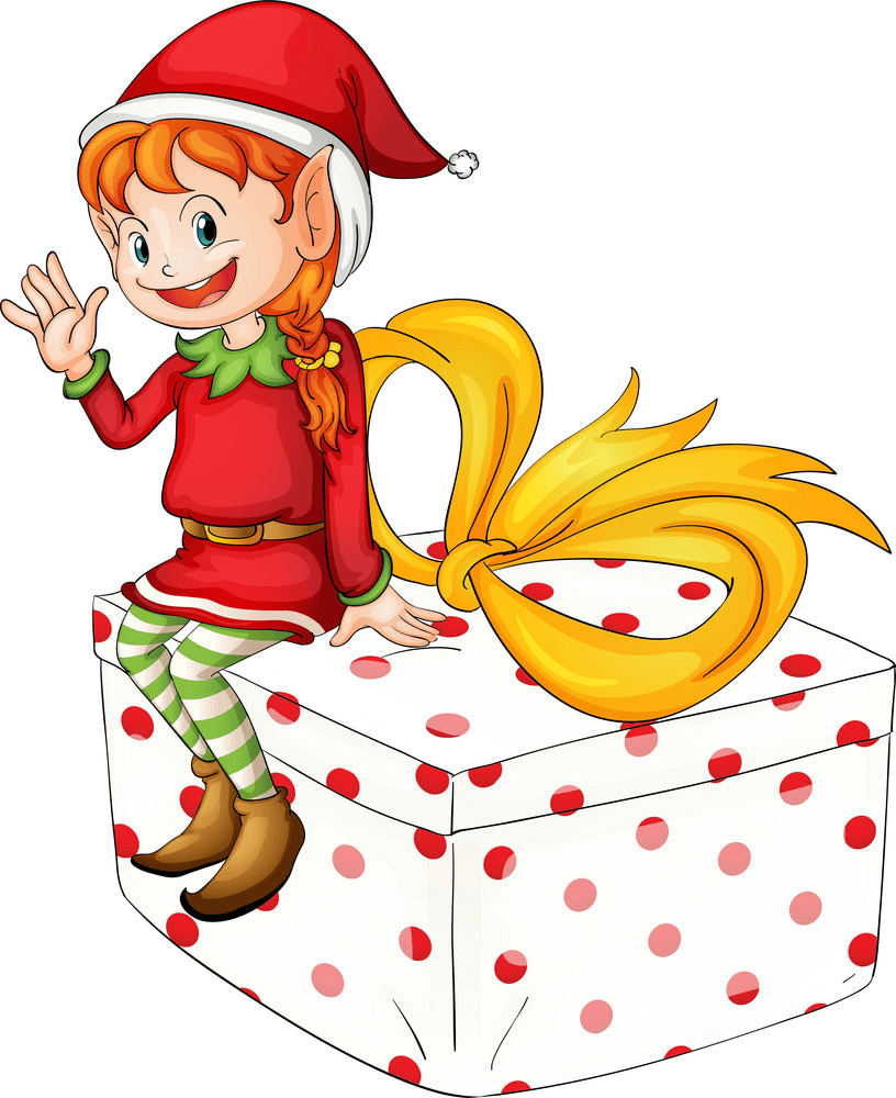 Christmas Elf on a Gift Box clipart
