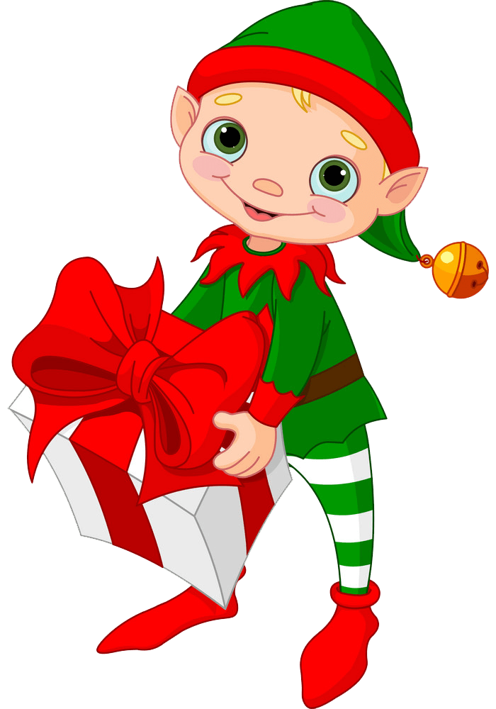 Christmas Elf with a Gift Box clipart transparent