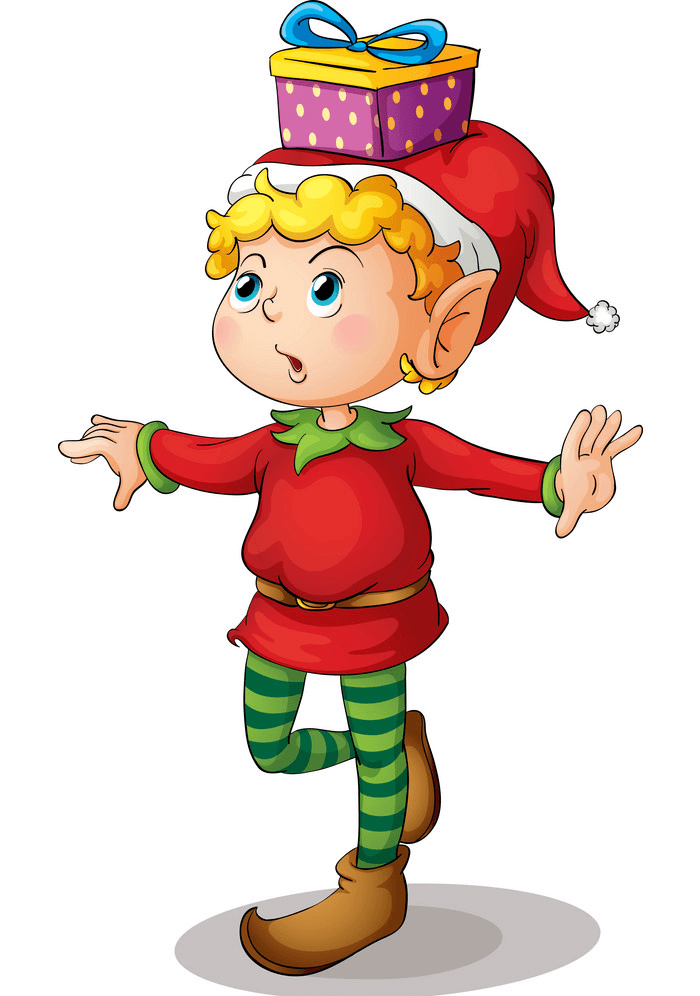 Christmas Elf with a Gift Box clipart