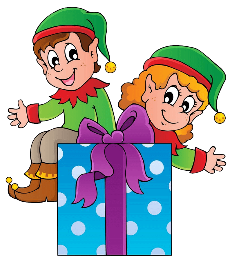 Christmas Elves and a Gift Box clipart transparent