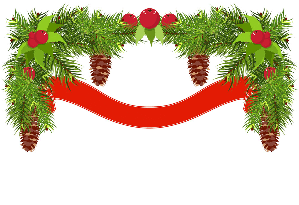 Christmas Garland with Red Ribbon clipart