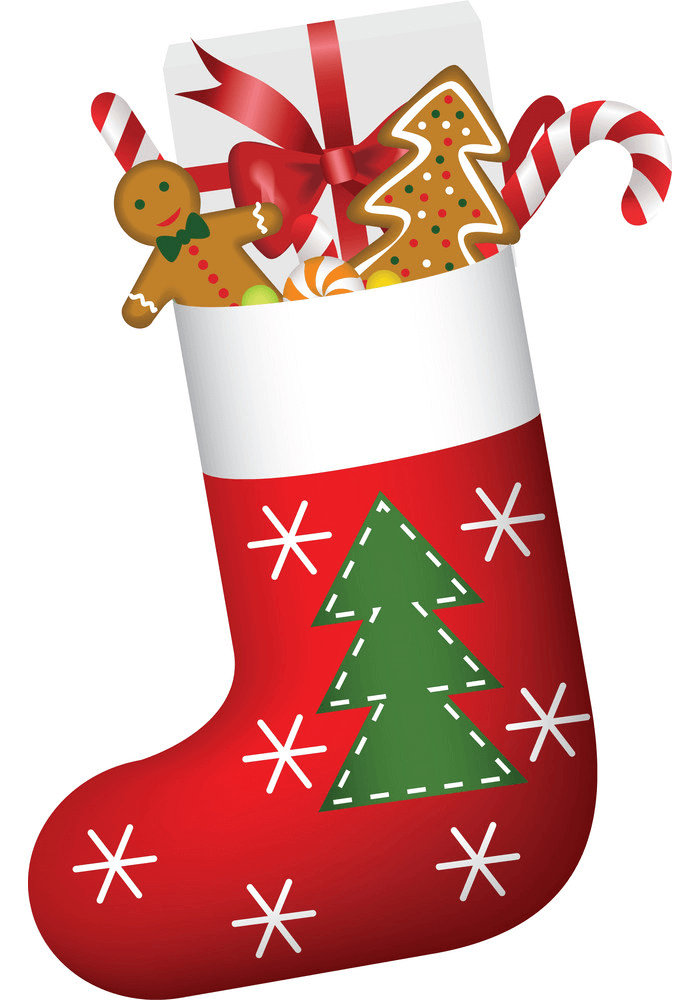 Christmas Stocking and Sweets clipart