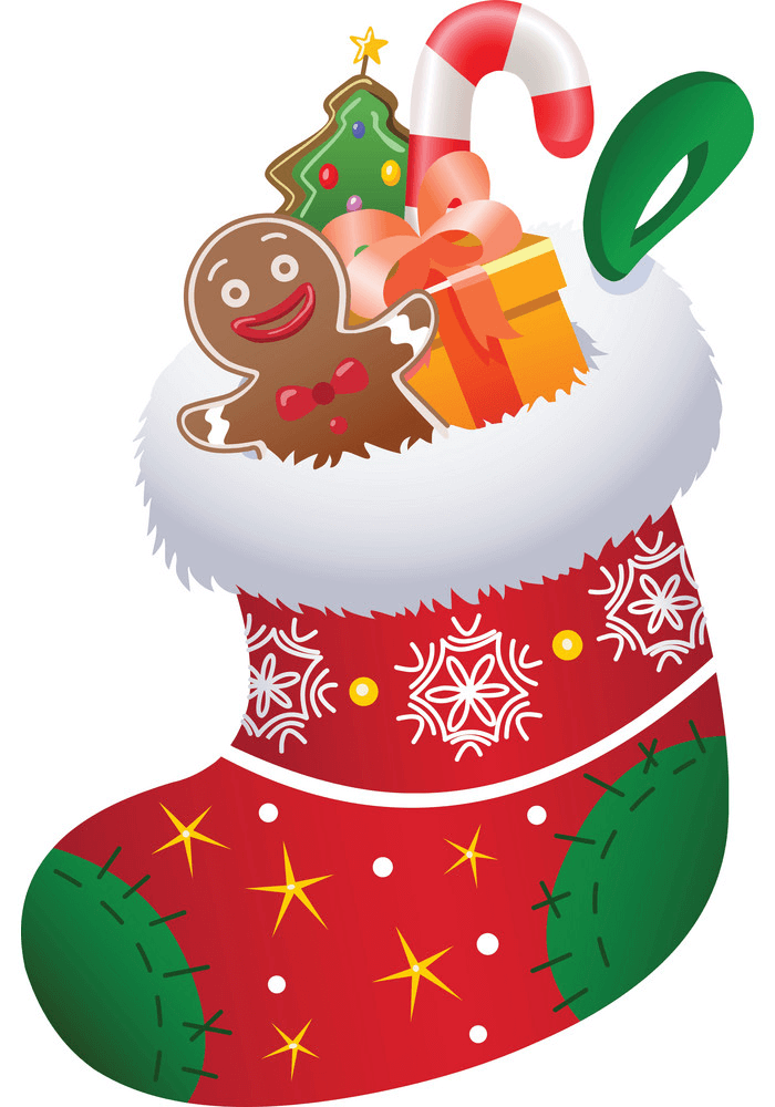 Christmas Stocking with Presents clipart
