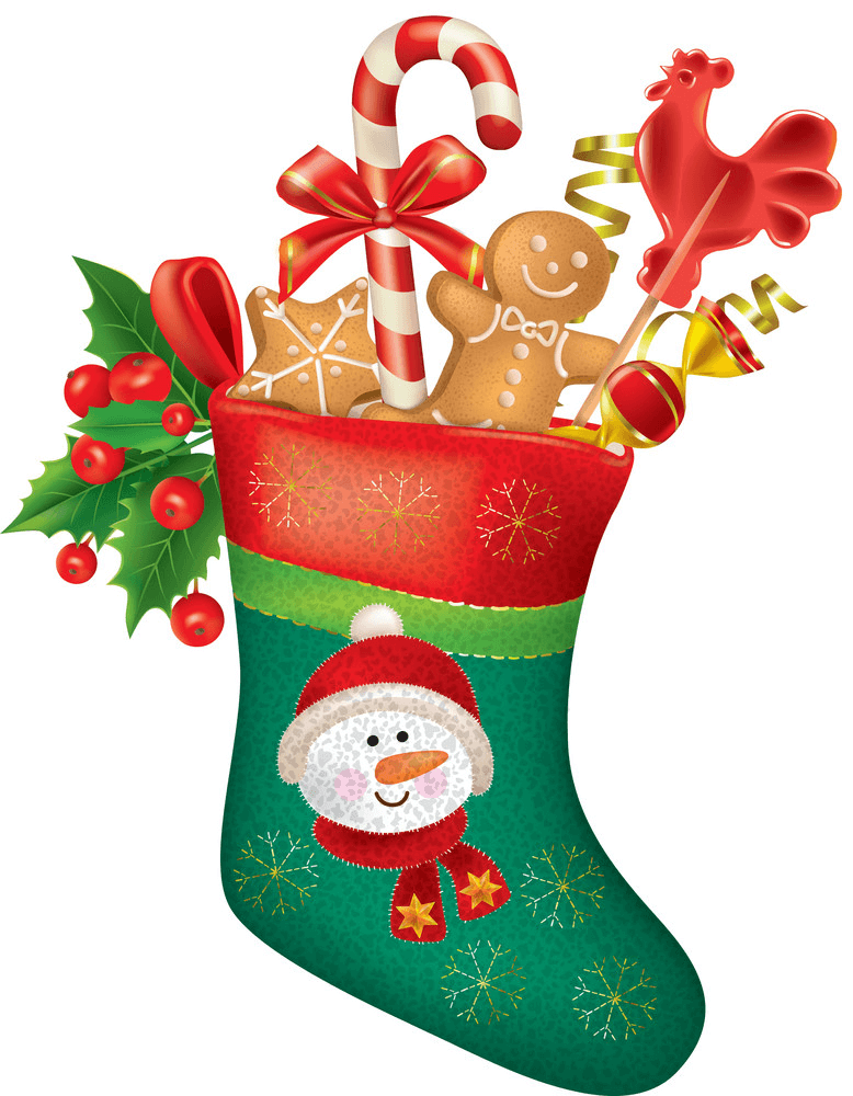 Christmas Stocking with Sweets clipart
