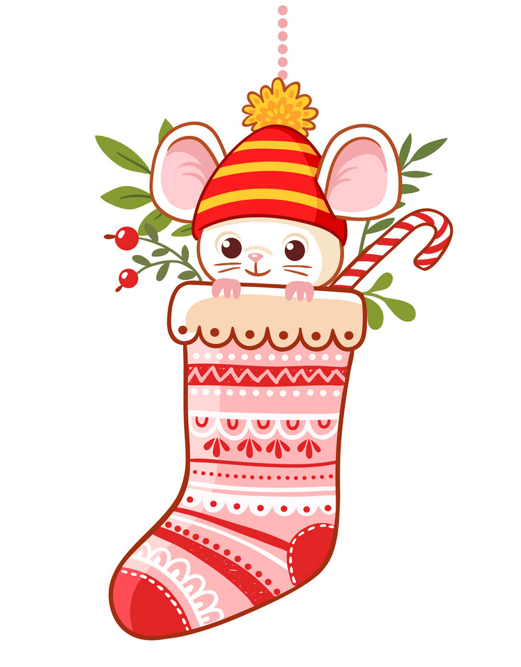 Christmas Stocking with a Mouse clipart