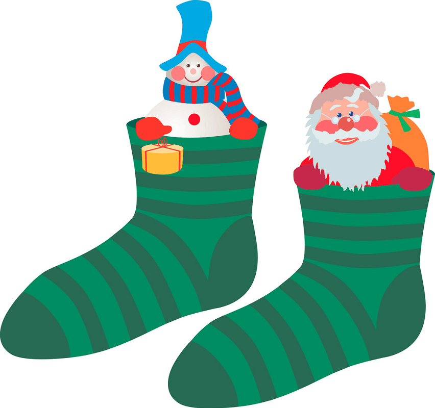 Christmas Stockings with Santa Claus clipart
