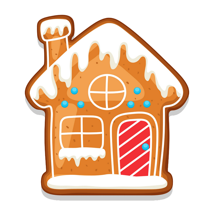 Cute Gingerbread House clipart transparent