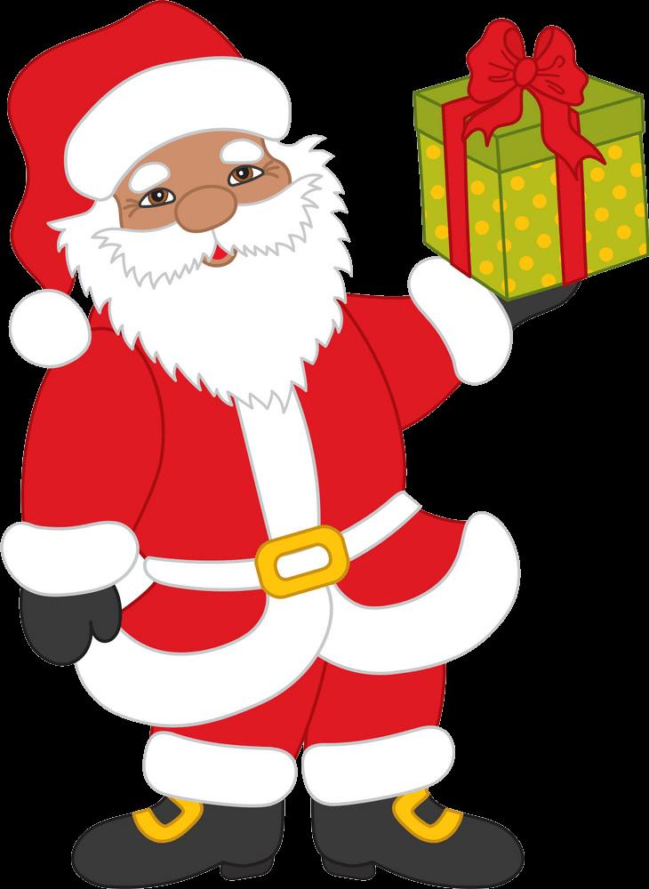Cute Santa Claus and Gift Box clipart transparent