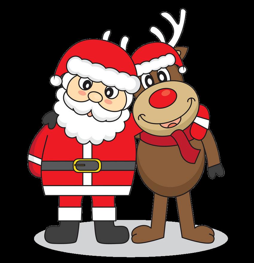 Cute Santa Claus and Reindeer clipart transparent