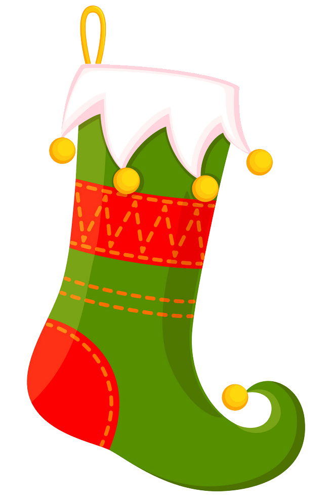 Elf Christmas Stocking clipart transparent