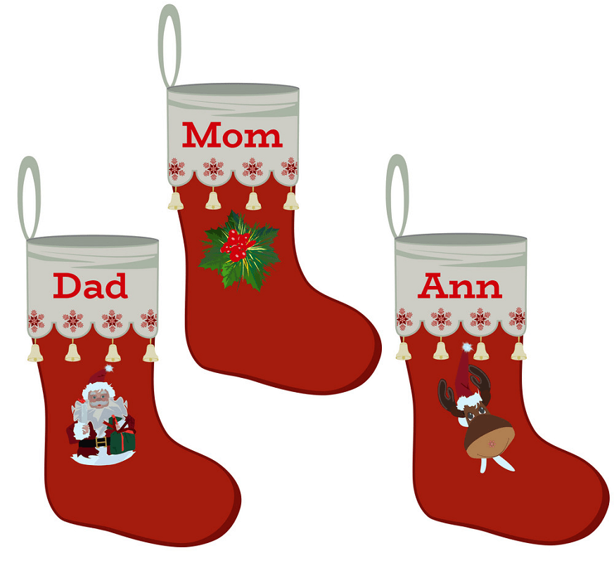 Family Christmas Stockings clipart