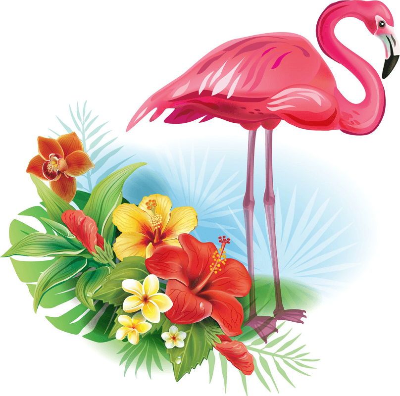 Flowers with Flamingo clipart