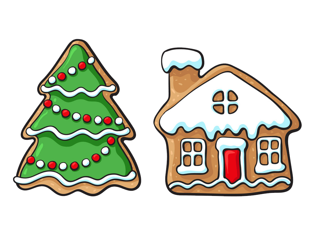 Gingerbread Christmas Tree and House clipart transparent