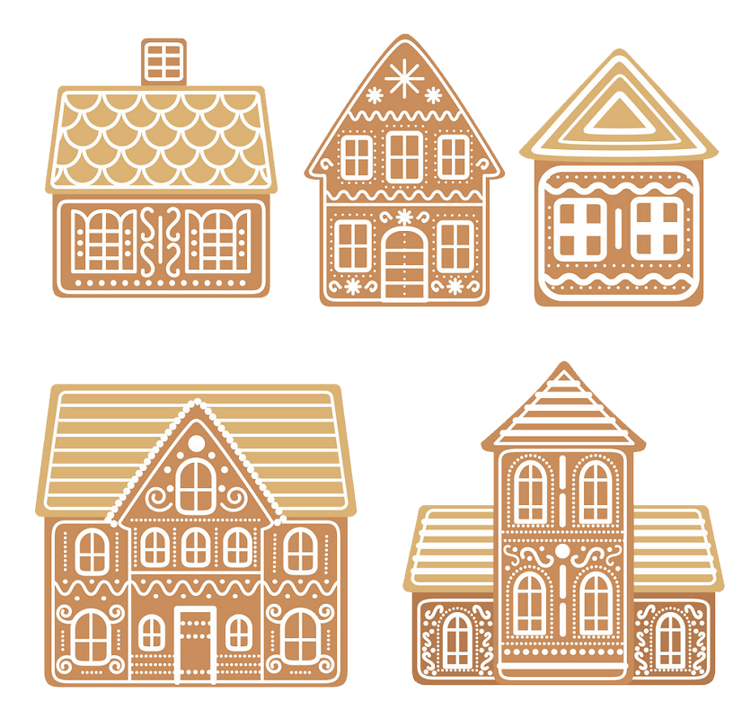 Gingerbread Houses clipart transparent